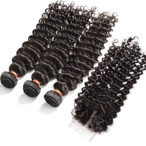3 Bundles With Lace Closure Virgin Human Hair Deep Wave Natural Black Color (3902500503612)