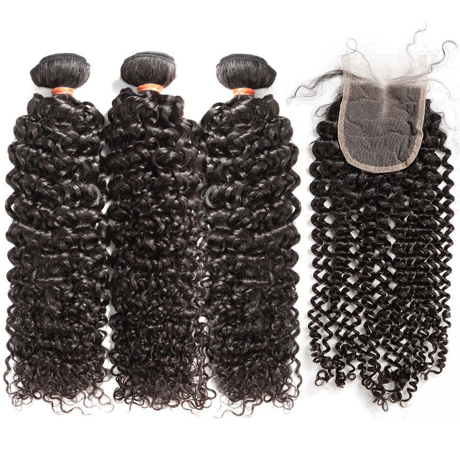3 Pcs/Lot Virgin Human Hair Italy Curly With Lace Closure Natural Black Color