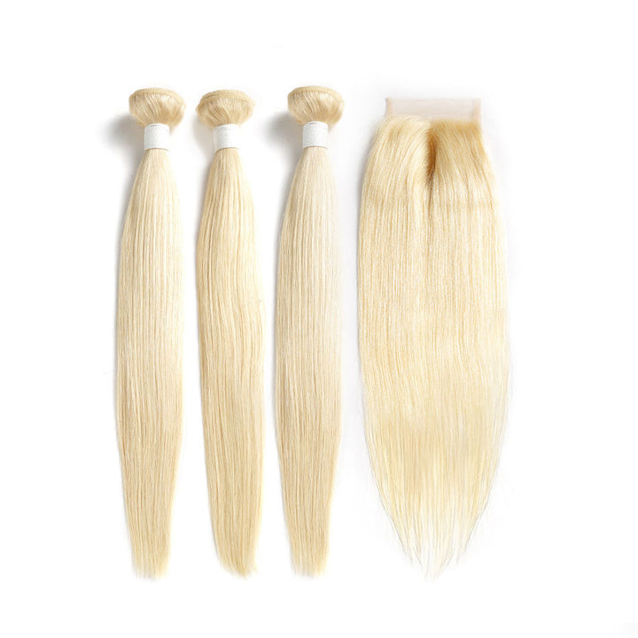 3 Bundles With Lace Closure Straight Human Virgin Hair Blonde 613 Color