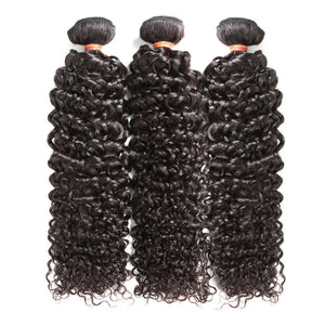 3 Pcs/Lot Virgin Human Hair Italy Curly With Lace Closure Natural Black Color (3902493425724)
