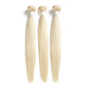 3 Bundles Human Virgin Hair Bundles Straight Blonde 613 Color (3895663001660)