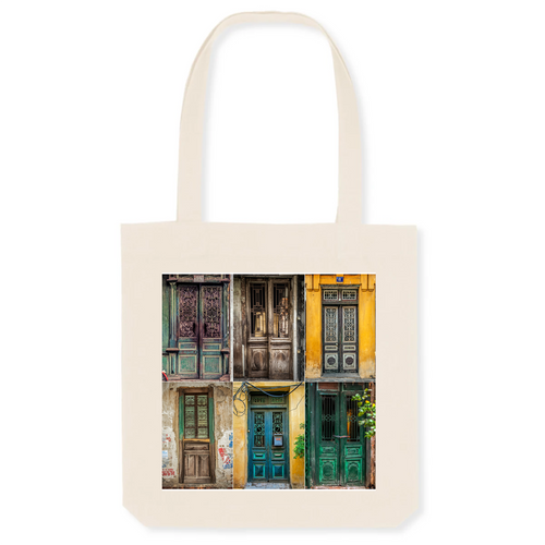 Doors of Hanoi Canvas Tote Bag - 80% Organic Cotton, 20% Recycled Plastic