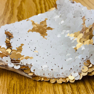 White & Gold Sequins Face Mask