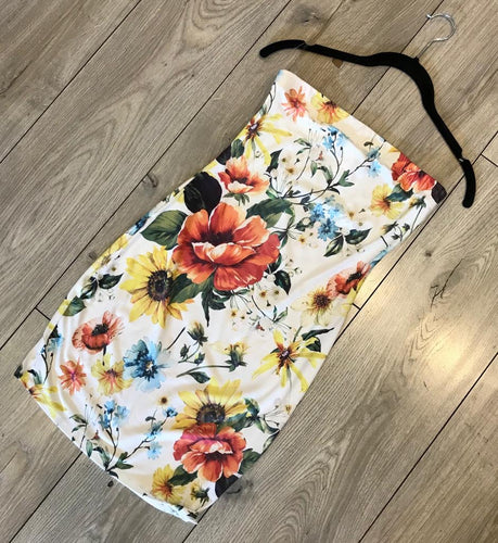 White Tube Top Fitted Flower Print Dress