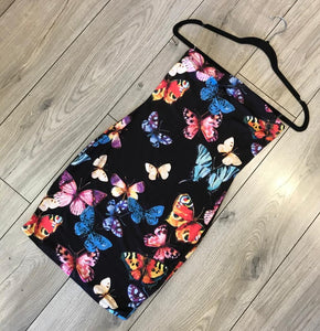 Black Tube Top Fitted Butterfly Dress