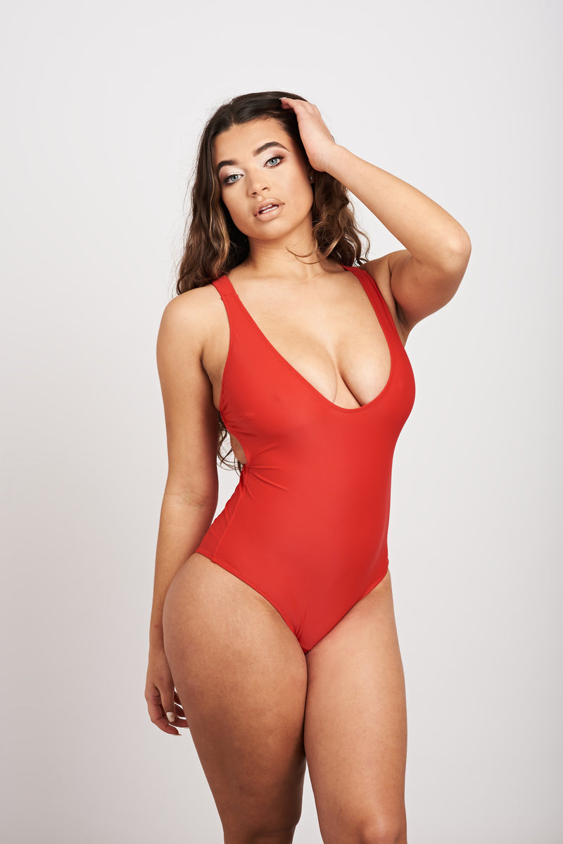 Red fuller bust swimsuit
