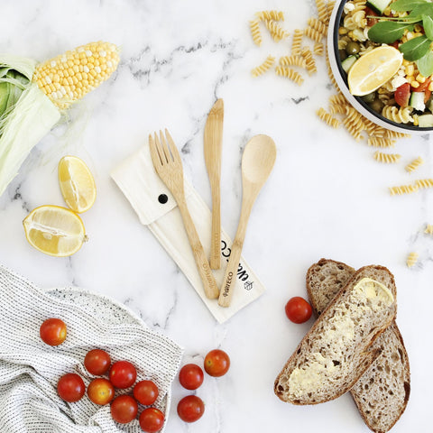 bamboo cutlery set consisting of knife, spoon and fork