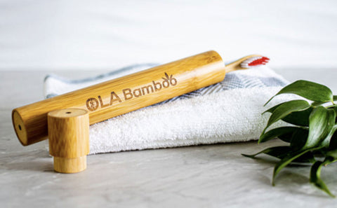 OLA bamboo toothbrush container holder eco friendly zero waste travel