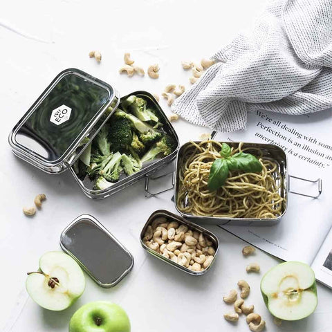 stainless steel stackable bento box 3 piece set plastic free zero waste healthy eating and meal preparation