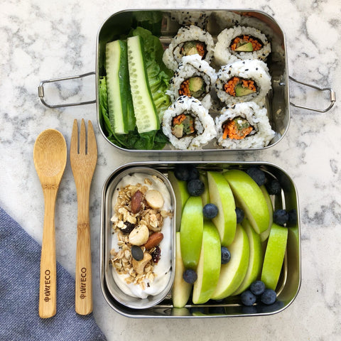 stainless steel bento box 3 piece set 2 tier snack container healthy eating ever eco