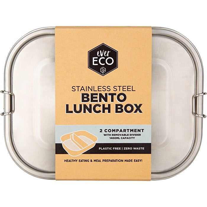 Ever Eco Stainless Steel Bento Box (2 compartments with removable divider, 1400ml)