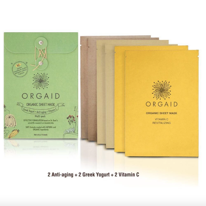 ORGAID Organic Sheet Mask Greek Yogurt, Anti-Aging + Vitamin C 6x24ml - Goods that Give
