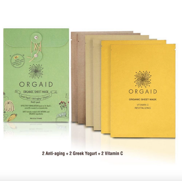 ORGAID Organic Sheet Mask Greek Yogurt, Anti-Aging + Vitamin C 6x24ml