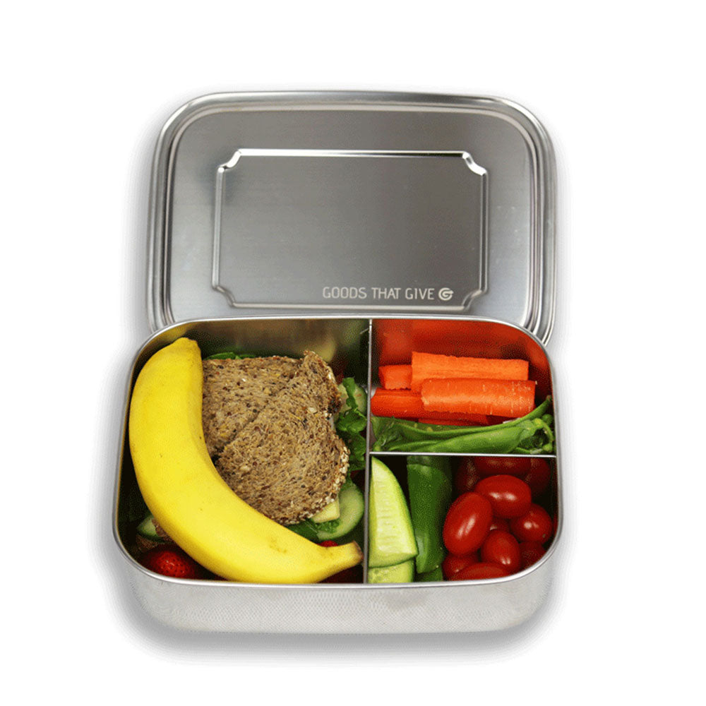 Stainless steel lunchbox - LARGE with compartments