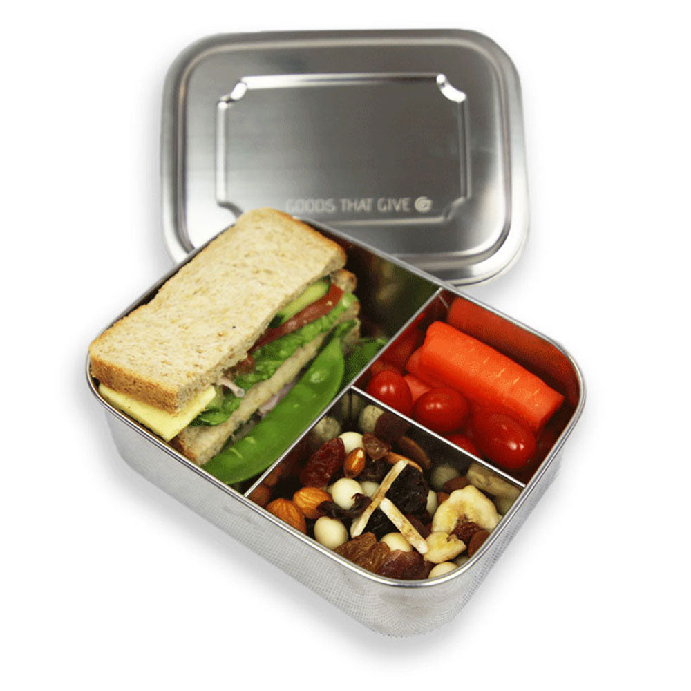 Stainless steel lunchbox - MEDIUM with compartments