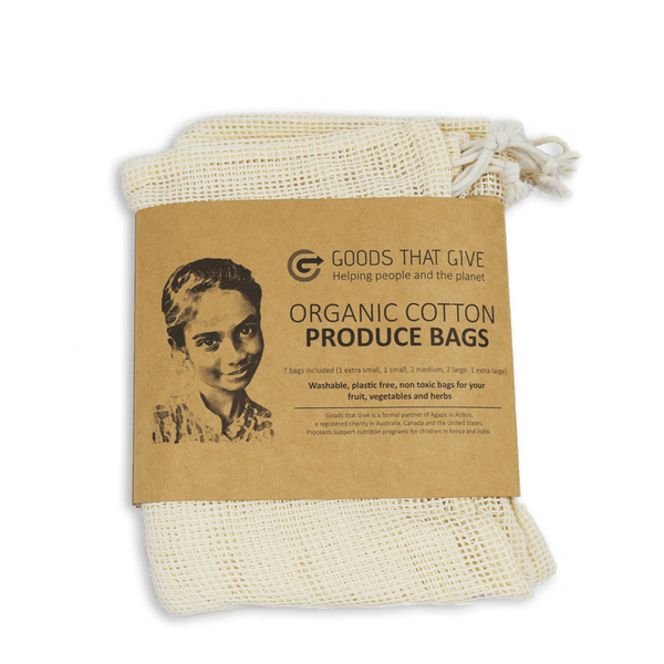 Organic Cotton Produce Bags (7 bag set) - Goods that Give