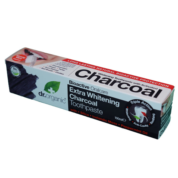 Dr Organic Toothpaste (Whitening) Activated Charcoal 100ml - Goods that Give