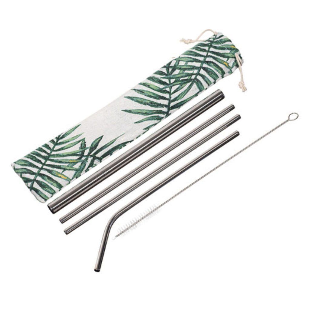6pc Reusable straw set with drawstring pouch - Goods that Give