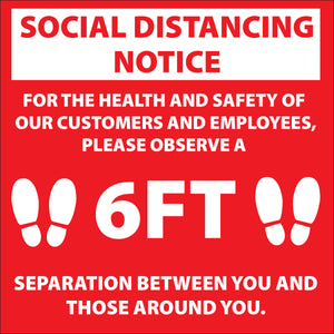 "12"" x 12"" Social Distancing Stickers - Indoor - Vinyl"