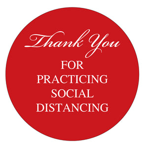 "12"" Circle - Thank You for Social Distancing Stickers - Indoor - Vinyl"