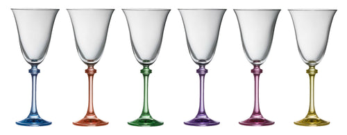 Galway Crystal - 6 Coloured Stem Liberty Glasses