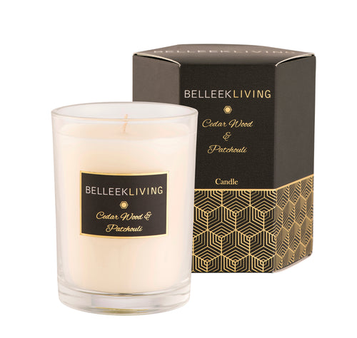 Belleek Living Cedarwood and Patchouli Candle. Envelope your senses with the grounding scent of Cedar Wood and Patchouli. Citrus and Cardamom top notes are blended with sweet woody cedar. Spicy earthy patchouli, warm musk & vibrant vetiver base notes make this the perfect mature fragrance for your home.  Candle Burn Time 40 Hours (approx) Wax Blend - 60% Paraffin Wax, 40% Palm Wax
