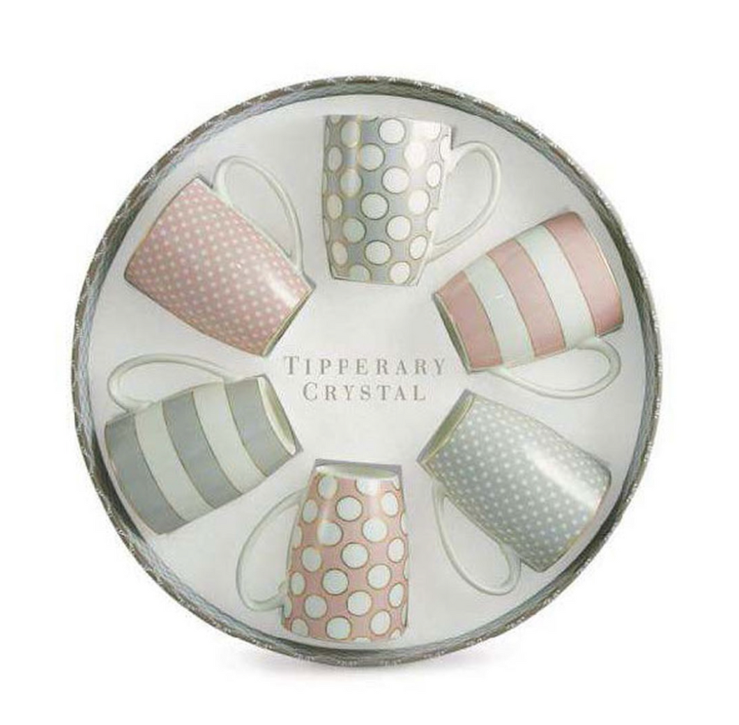 Tipperary - Set 6 Bone China Mugs - Spots & Stripes Party Pack