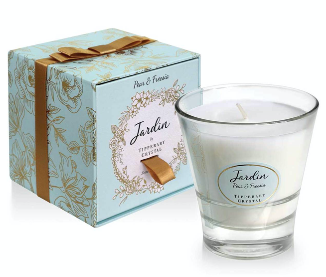 Jardin Candle from Tipperary Crystal.  Pear&Freesia.   Burn Time 40-45 hours