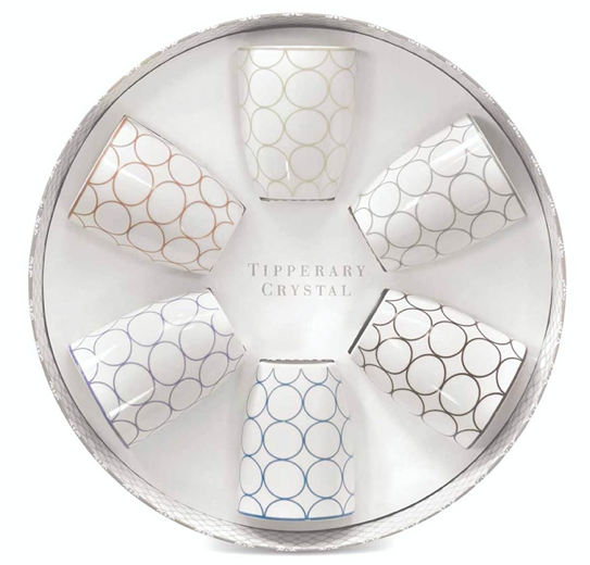 Tipperary - Set 6 Bone China Mugs - Circles Design