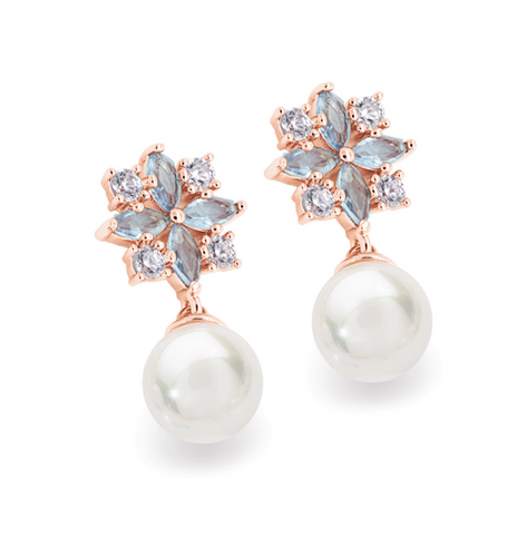 Maureen O'Hara - Rose Gold Drop Pearl Earrings
