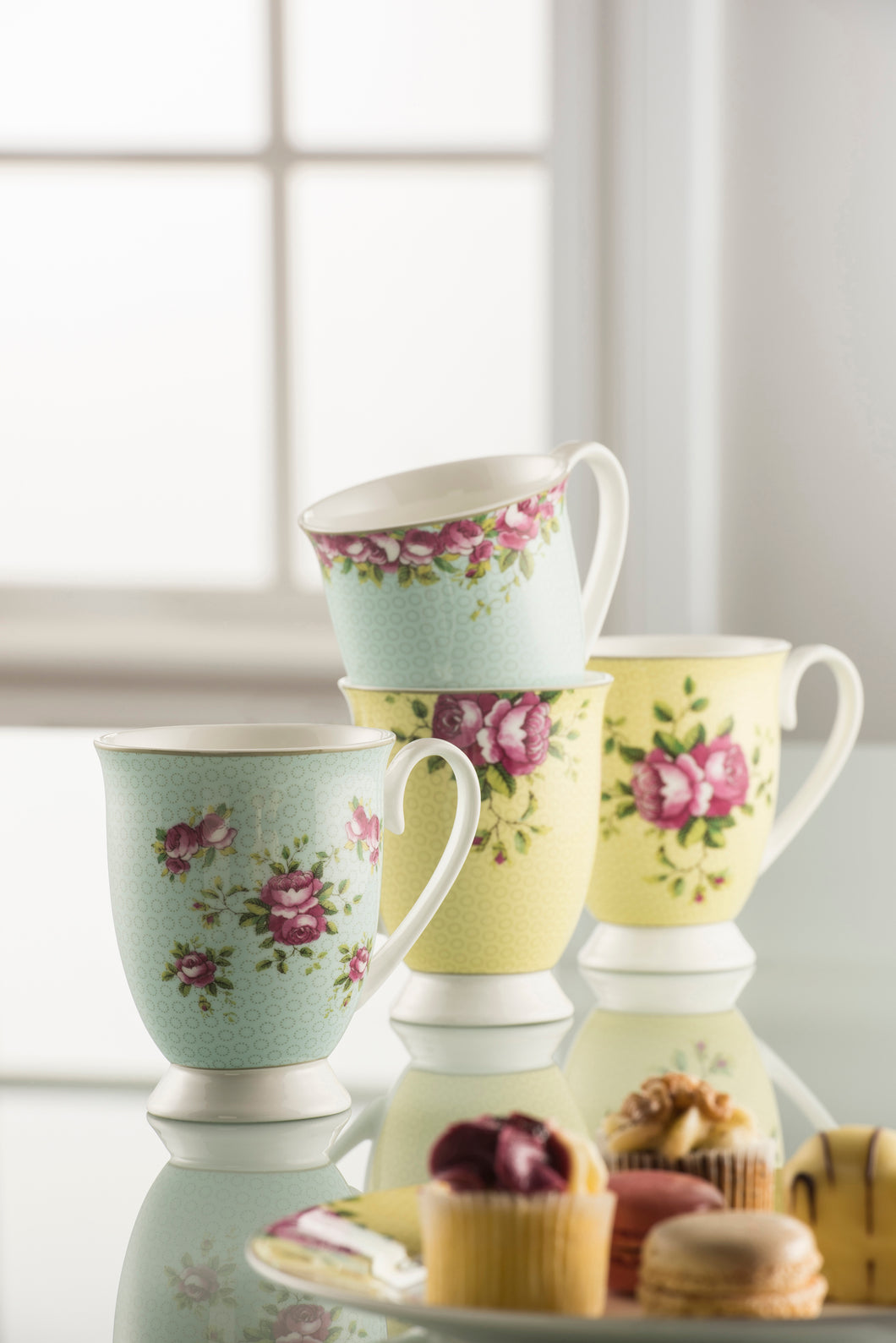 Anysley - Rose Collection Lemon & Mint Green Mugs in a Gift Box