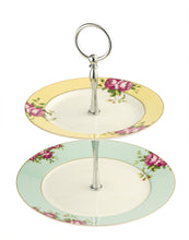 Load image into Gallery viewer, Anysley - Rose Pattern 2 Tier Cake Plate