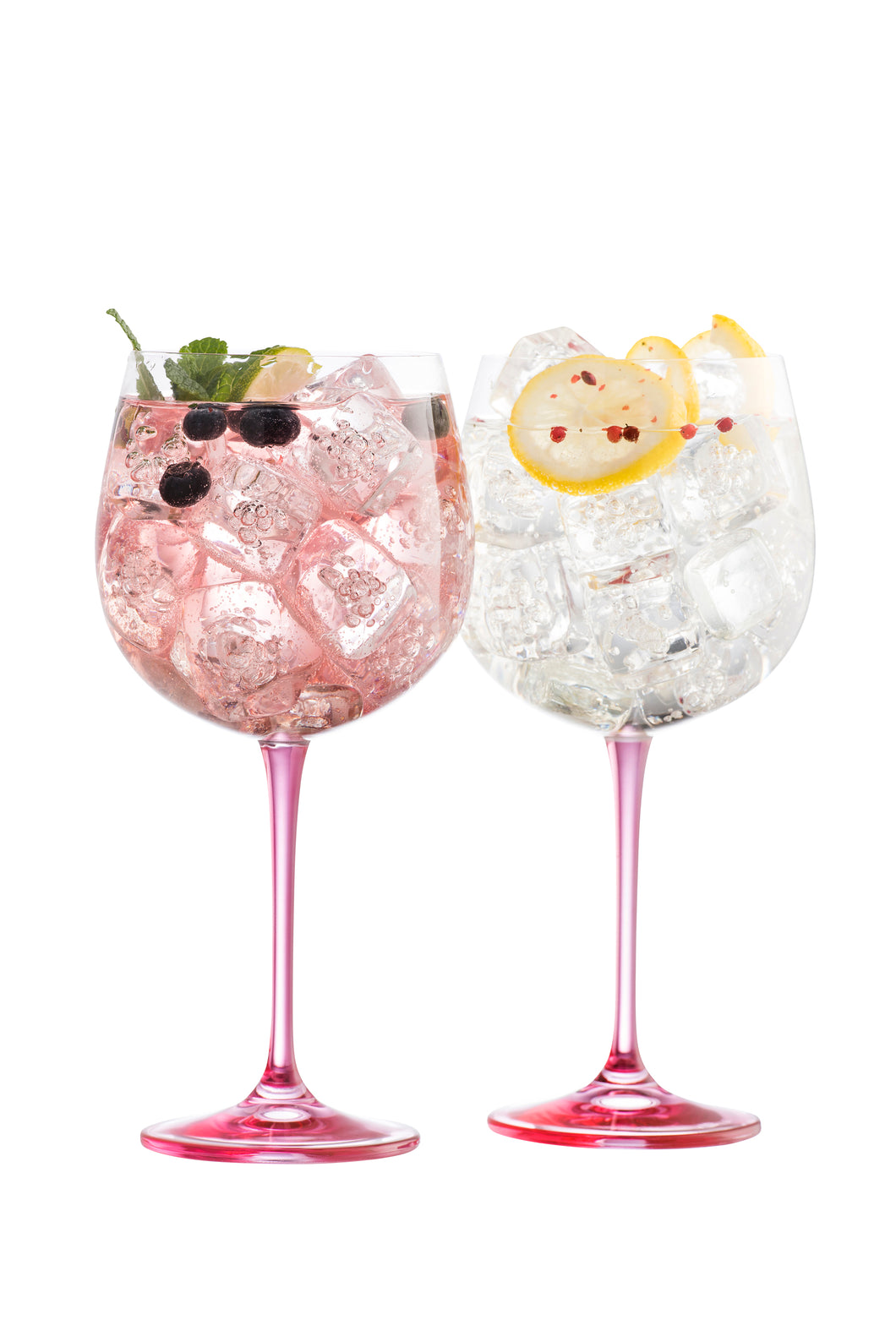 Galway Crystal - Pair of Pink Stemmed Gin & Tonic Glasses