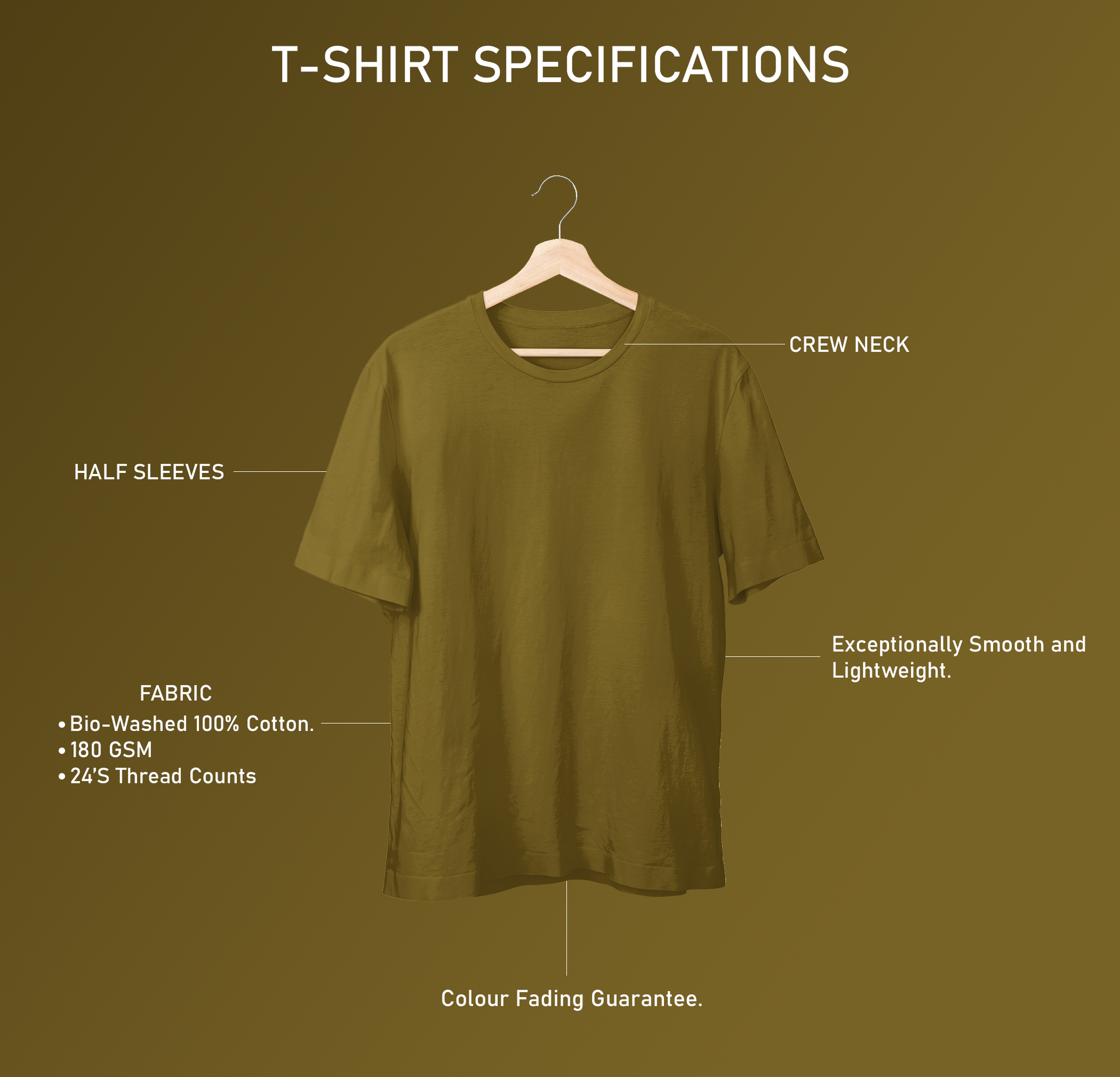 Olive Green Half Sleeve Plain T-Shirt