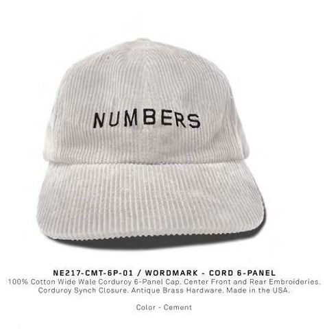 Numbers Edition Wordmark Cord 6 Panel Cap (Cement)