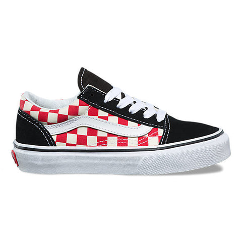 Vans Youth Old Skool (Black/ Red Checkerboard)
