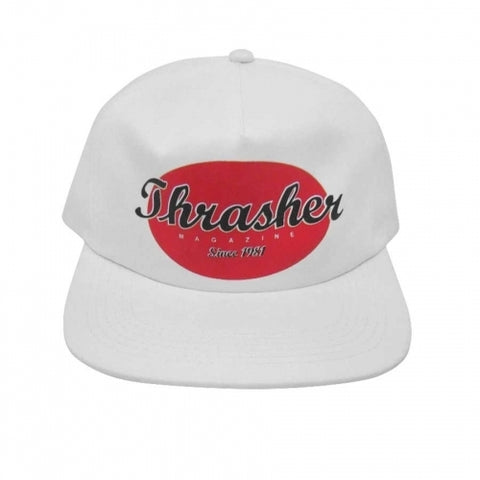 Thrasher Oval Snapback (White)