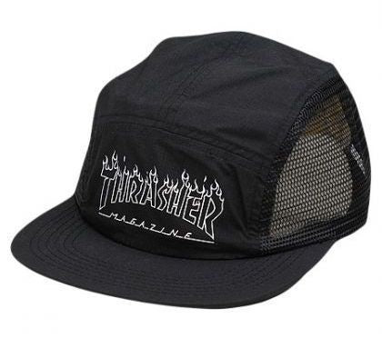 Thrasher Flame Logo Mesh 5 Panel Cap (Black)
