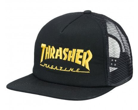 Thrasher Logo Mesh Cap (Black/Yellow)