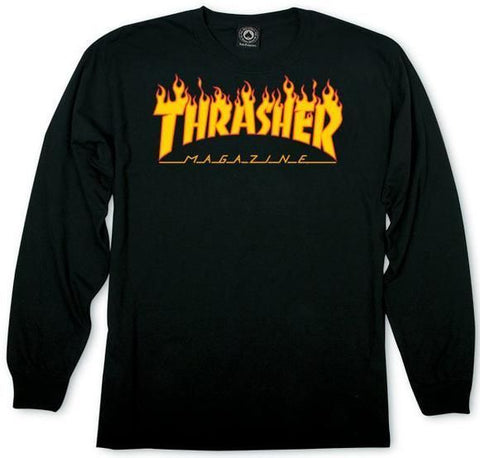 Thrasher Flame L/S Tee (Black)