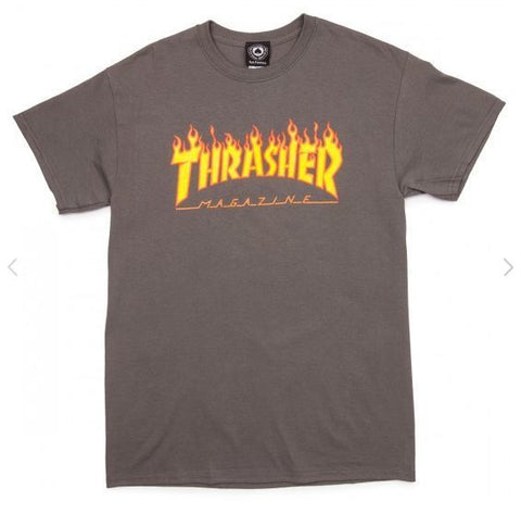Thrasher Flame Logo T-Shirt (Grey)