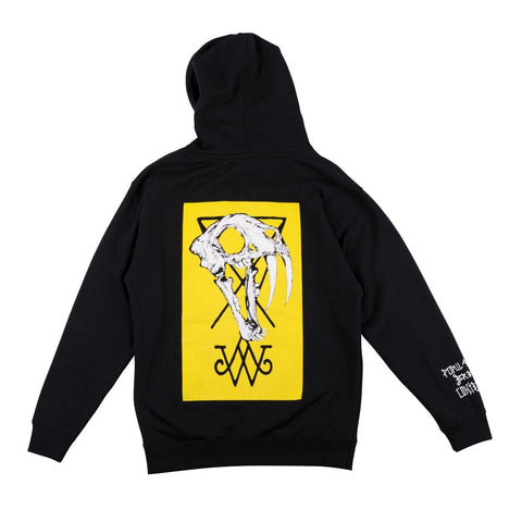 Welcome Saberskull Heavyweight Pullover Hoodie (Black/Yellow)