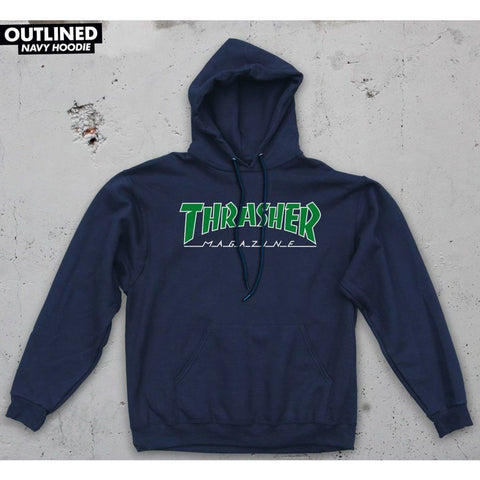 Thrasher Outlined Hooded Sweatshirt (Navy Blue)