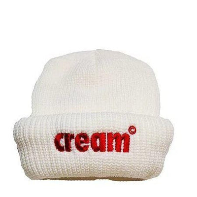 Cream OG Logo Beanie (White/Red)