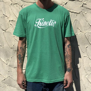Kinetic Script Logo T-Shirt (Kelly Heather/White)
