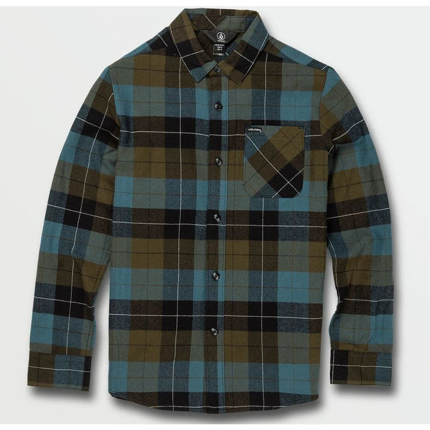 Volcom Boy's Caden Plaid Flannel (Military)