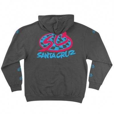 Santa Cruz Check Pro Series Hooded Heavyweight Sweartshirt (Charcoal)