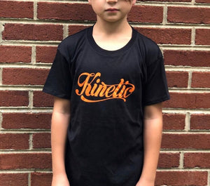 Kinetic Script Logo Youth T-Shirt (Black/Orange)