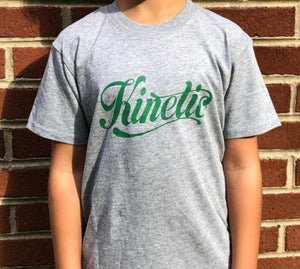 Kinetic Script Logo Youth T-Shirt (Heather Grey/Kelly Green)