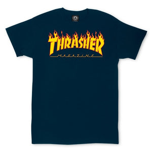 Thrasher Flame Tee- (Navy)